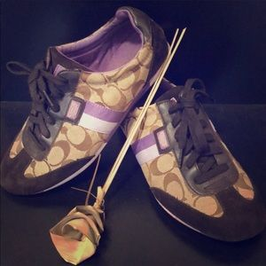 Classic coach purple tennis shoes brown laces 8.5